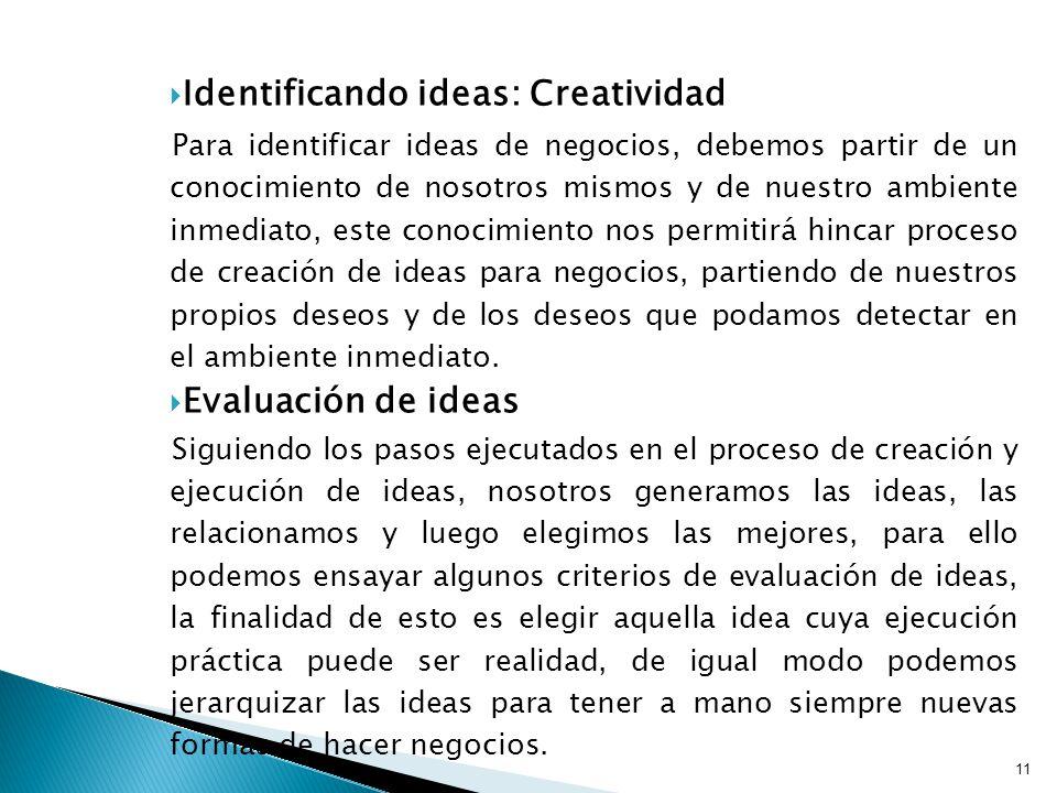 Identificando ideas: Creatividad Para identificar ideas de negocios, debemos partir de un conocimiento de nosotros mismos y de nuestro ambiente inmediato, este conocimiento nos permitirá hincar proceso de creación de ideas para negocios, partiendo de nuestros propios deseos y de los deseos que podamos detectar en el ambiente inmediato.