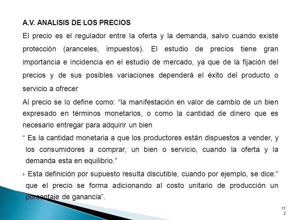 A.V. ANALISIS DE LOS PRECIOS El precio es el regulador entre la oferta y la demanda, salvo cuando existe protección (aranceles, impuestos). El estudio