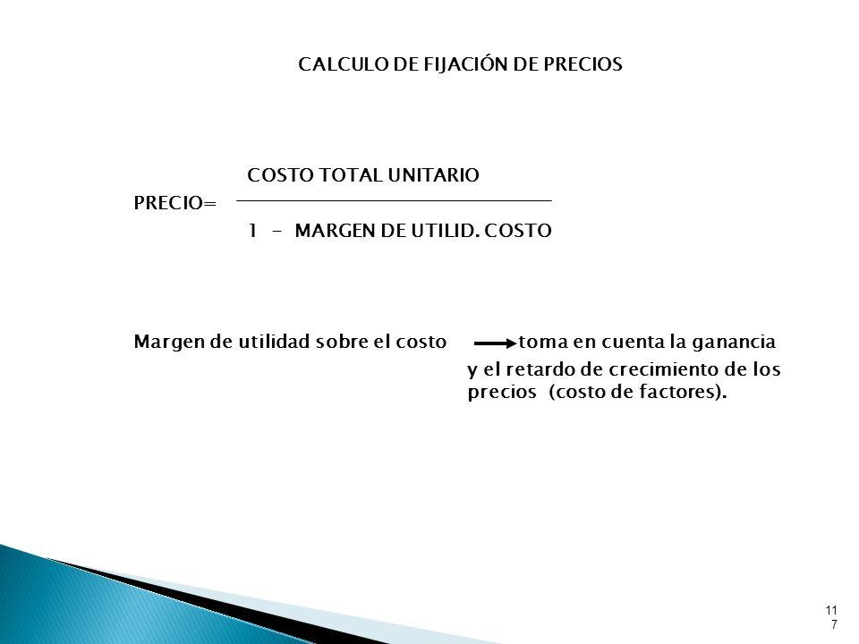 CALCULO DE FIJACIÓN DE PRECIOS COSTO TOTAL UNITARIO PRECIO= 1 - MARGEN DE UTILID.
