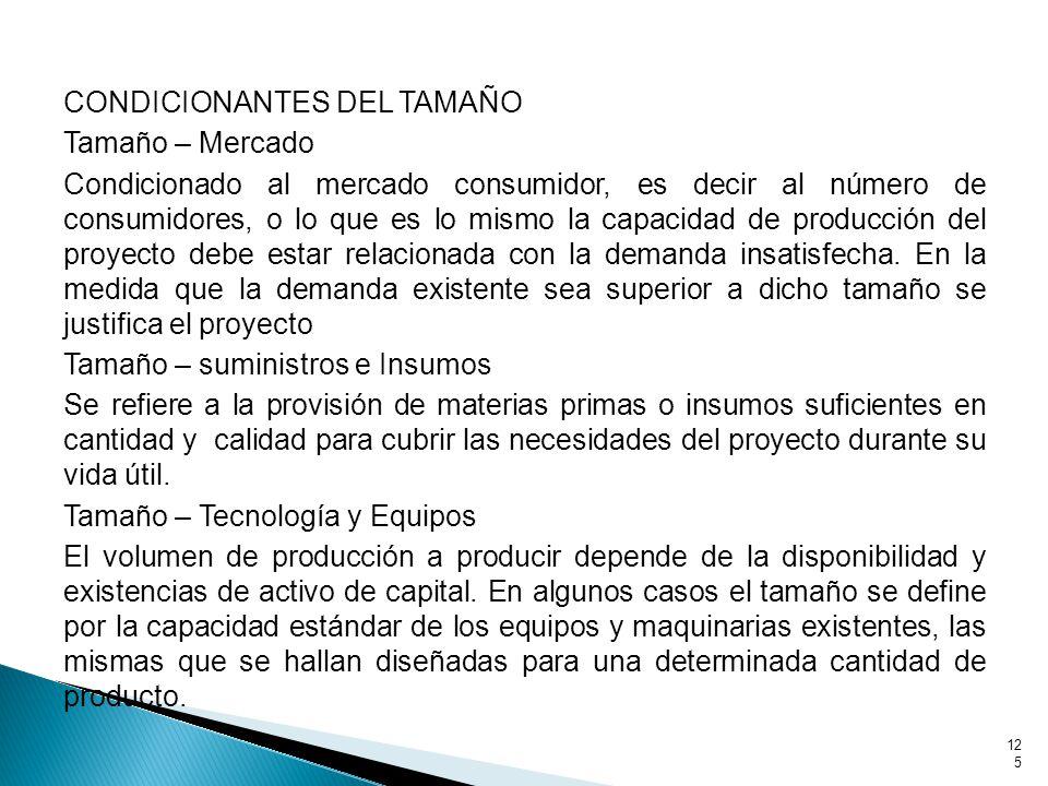 CONDICIONANTES DEL TAMAÑO Tamaño – Mercado Condicionado al mercado consumidor, es decir al número de consumidores, o lo que es lo mismo la capacidad de producción del proyecto debe estar relacionada con la demanda insatisfecha.