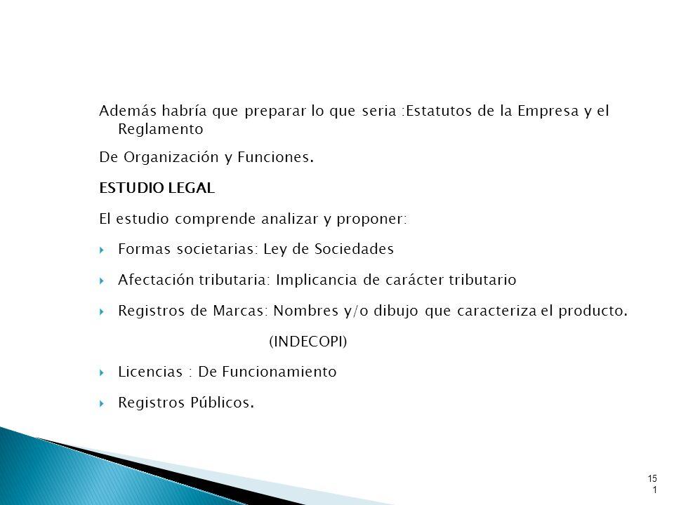 Además habría que preparar lo que seria :Estatutos de la Empresa y el Reglamento De Organización y Funciones.