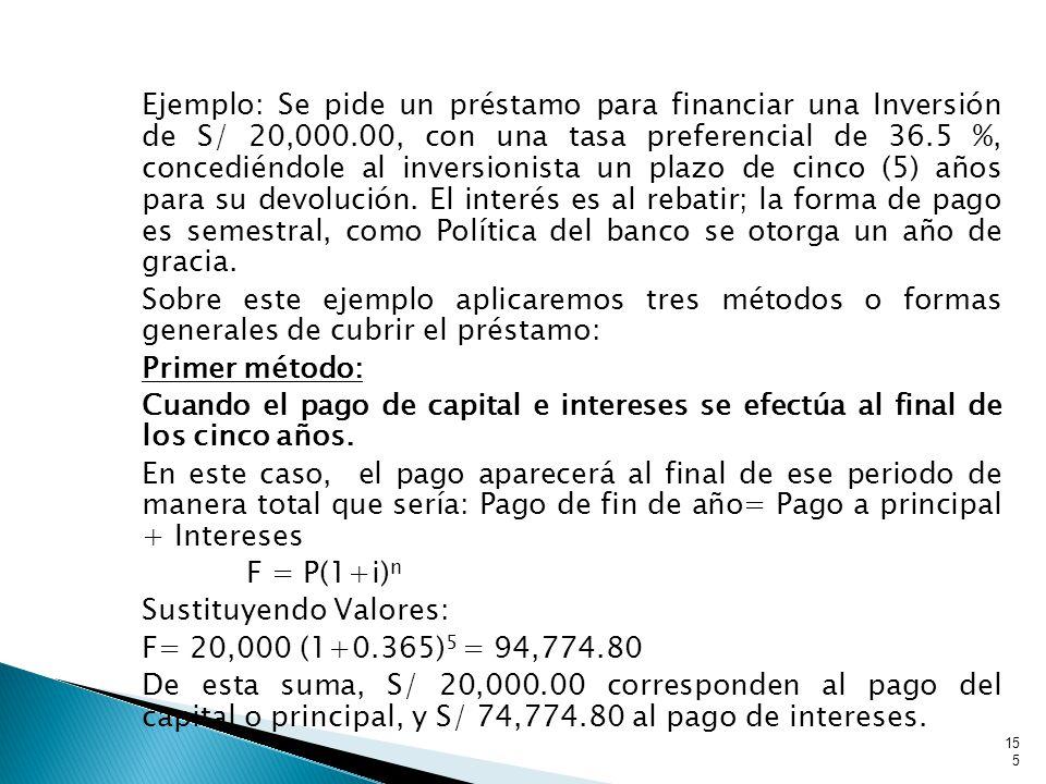 Ejemplo: Se pide un préstamo para financiar una Inversión de S/ 20,000.00, con una tasa preferencial de 36.5 %, concediéndole al inversionista un plazo de cinco (5) años para su devolución.