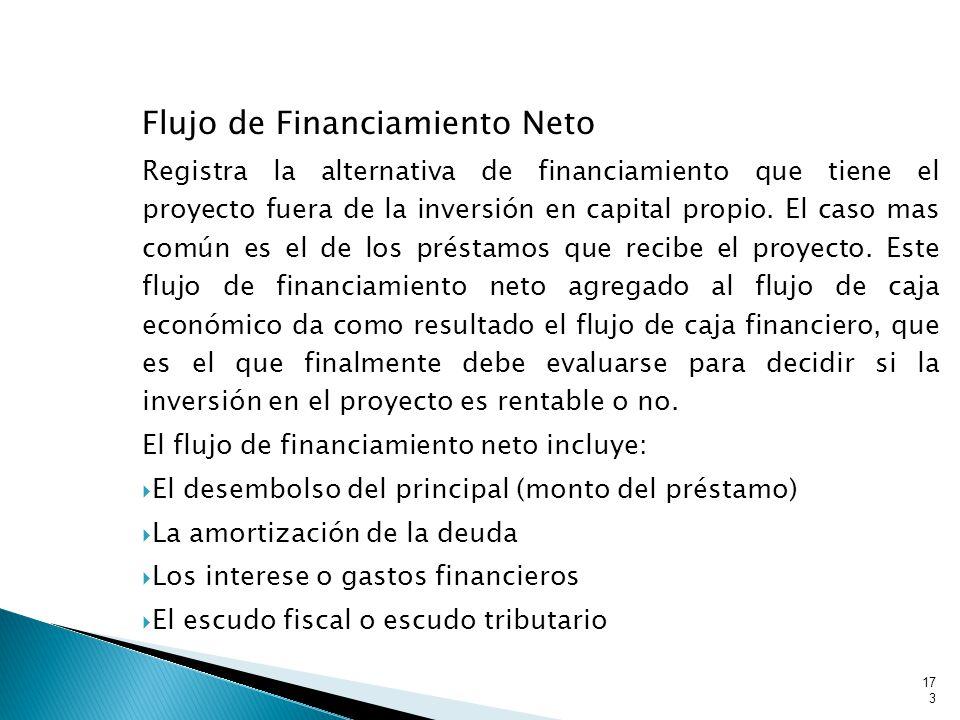 Flujo de Financiamiento Neto Registra la alternativa de financiamiento que tiene el proyecto fuera de la inversión en capital propio.