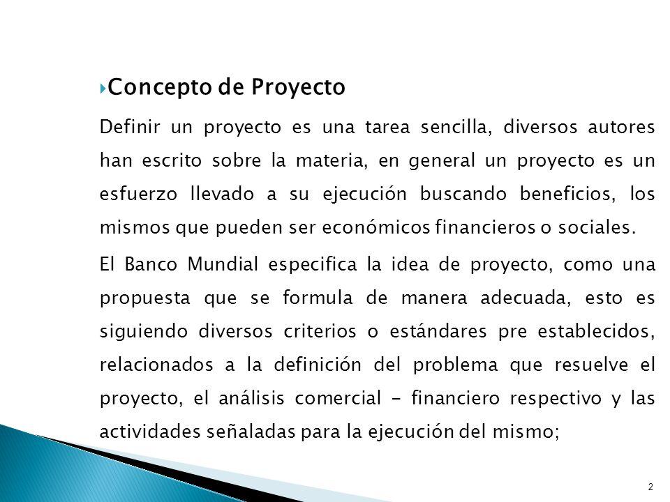 Concepto de Proyecto Definir un proyecto es una tarea sencilla, diversos autores han escrito sobre la materia, en general un proyecto es un esfuerzo llevado a su ejecución buscando beneficios, los mismos que pueden ser económicos financieros o sociales.