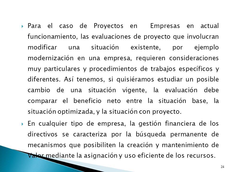 Para el caso de Proyectos en Empresas en actual funcionamiento, las evaluaciones de proyecto que involucran modificar una situación existente, por ejemplo modernización en una empresa, requieren consideraciones muy particulares y procedimientos de trabajos específicos y diferentes.