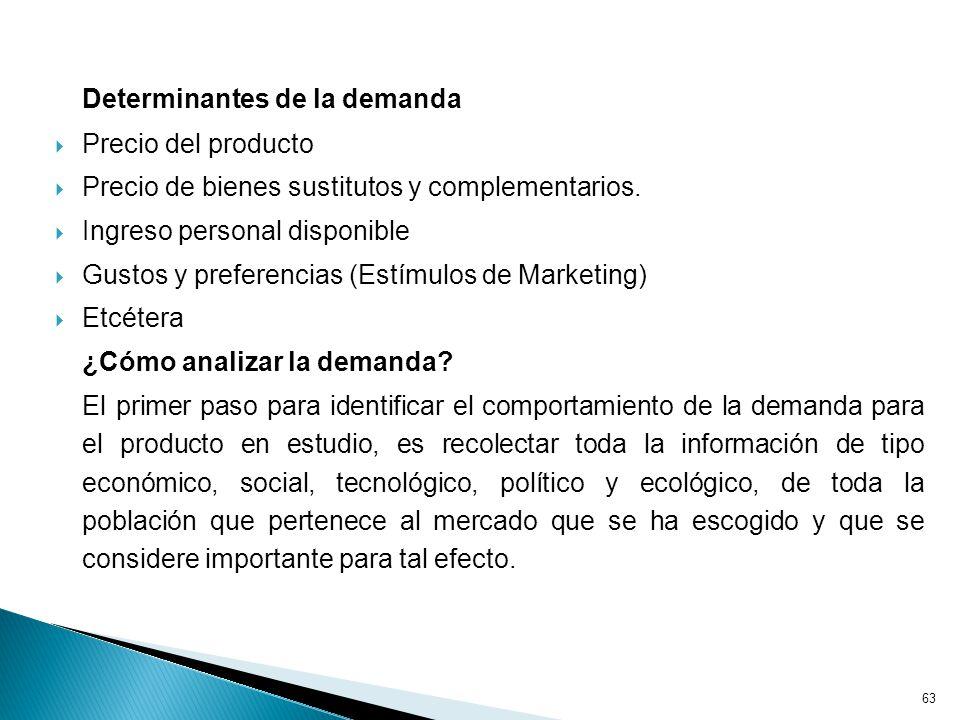 63 Determinantes de la demanda Precio del producto Precio de bienes sustitutos y complementarios.
