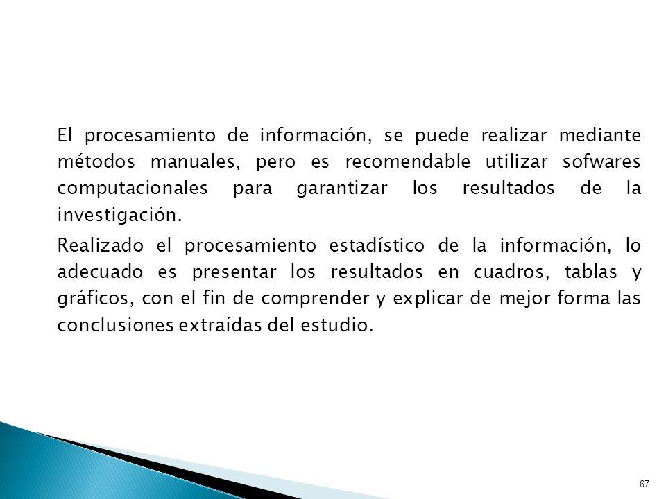 67 El procesamiento de información, se puede realizar mediante métodos manuales, pero es recomendable utilizar sofwares computacionales para garantizar los resultados de la investigación.