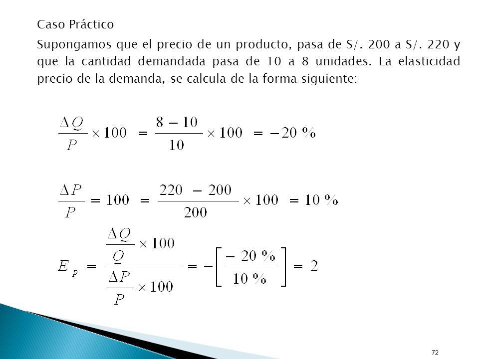 72 Caso Práctico Supongamos que el precio de un producto, pasa de S/.