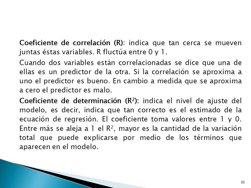 85 Coeficiente de correlación (R): indica que tan cerca se mueven juntas éstas variables.
