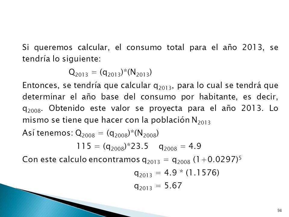 94 Si queremos calcular, el consumo total para el año 2013, se tendría lo siguiente: Q 2013 = (q 2013 )*(N 2013 ) Entonces, se tendría que calcular q 2013, para lo cual se tendrá que determinar el año base del consumo por habitante, es decir, q 2008.