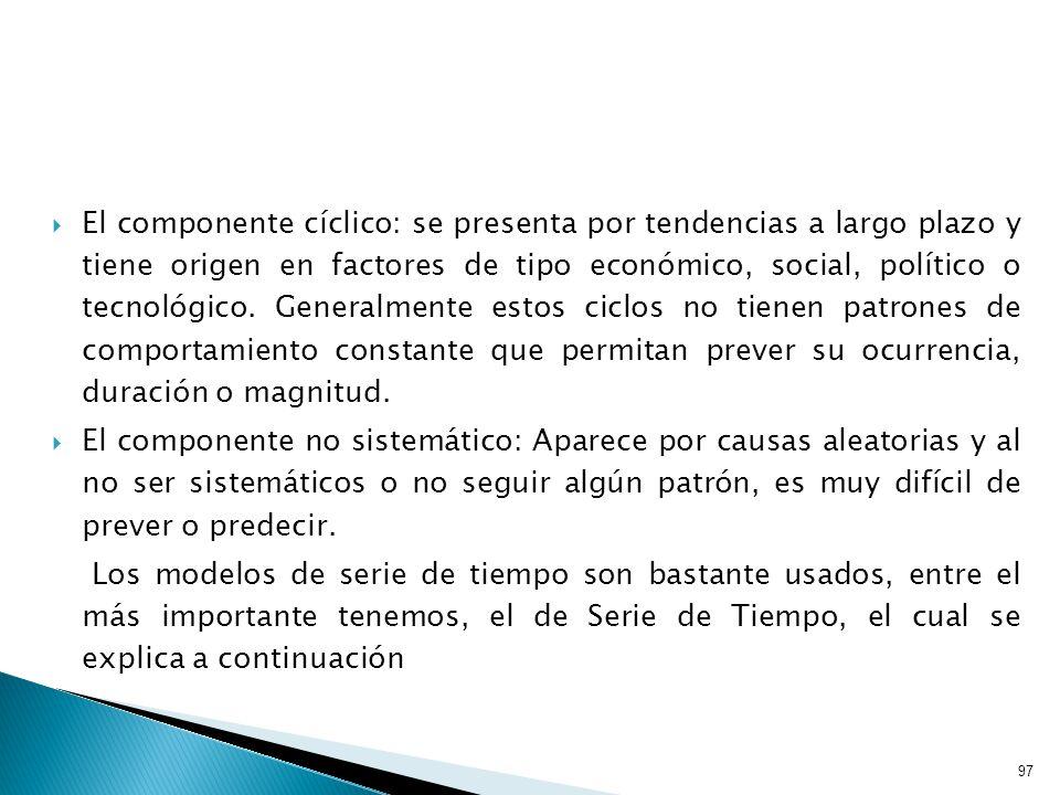 97 El componente cíclico: se presenta por tendencias a largo plazo y tiene origen en factores de tipo económico, social, político o tecnológico.