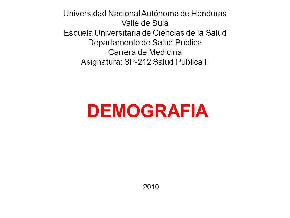 DEMOGRAFIA Universidad Nacional Autónoma de Honduras Valle de Sula Escuela Universitaria de Ciencias de la Salud Departamento de Salud Publica Carrera de Medicina Asignatura: SP-212 Salud Publica II 2010