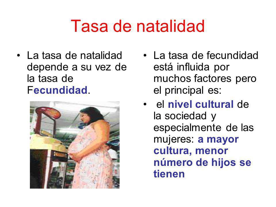 Tasa de natalidad La tasa de natalidad depende a su vez de la tasa de Fecundidad.