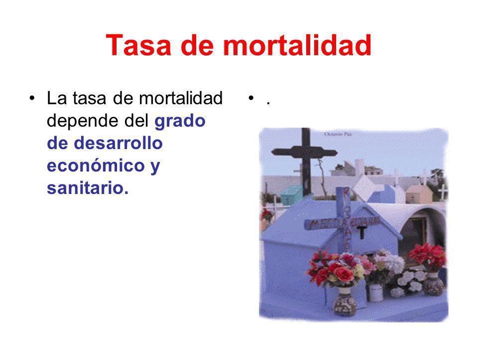 Tasa de mortalidad La tasa de mortalidad depende del grado de desarrollo económico y sanitario..