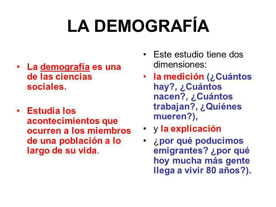 LA DEMOGRAFÍA La demografía es una de las ciencias sociales.