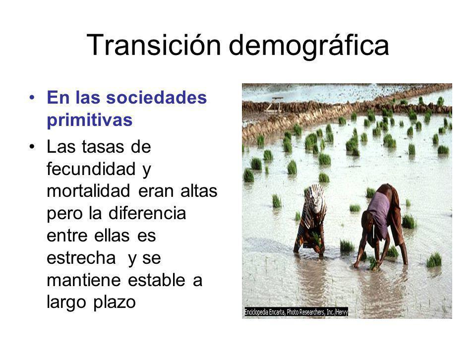 Transición demográfica En las sociedades primitivas Las tasas de fecundidad y mortalidad eran altas pero la diferencia entre ellas es estrecha y se mantiene estable a largo plazo