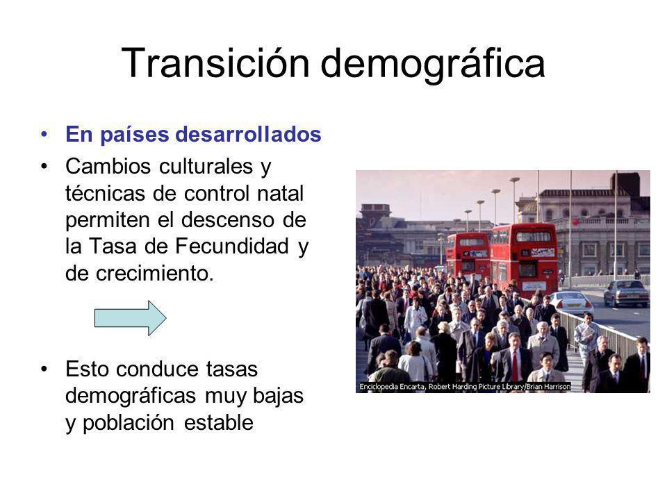 Transición demográfica En países desarrollados Cambios culturales y técnicas de control natal permiten el descenso de la Tasa de Fecundidad y de crecimiento.