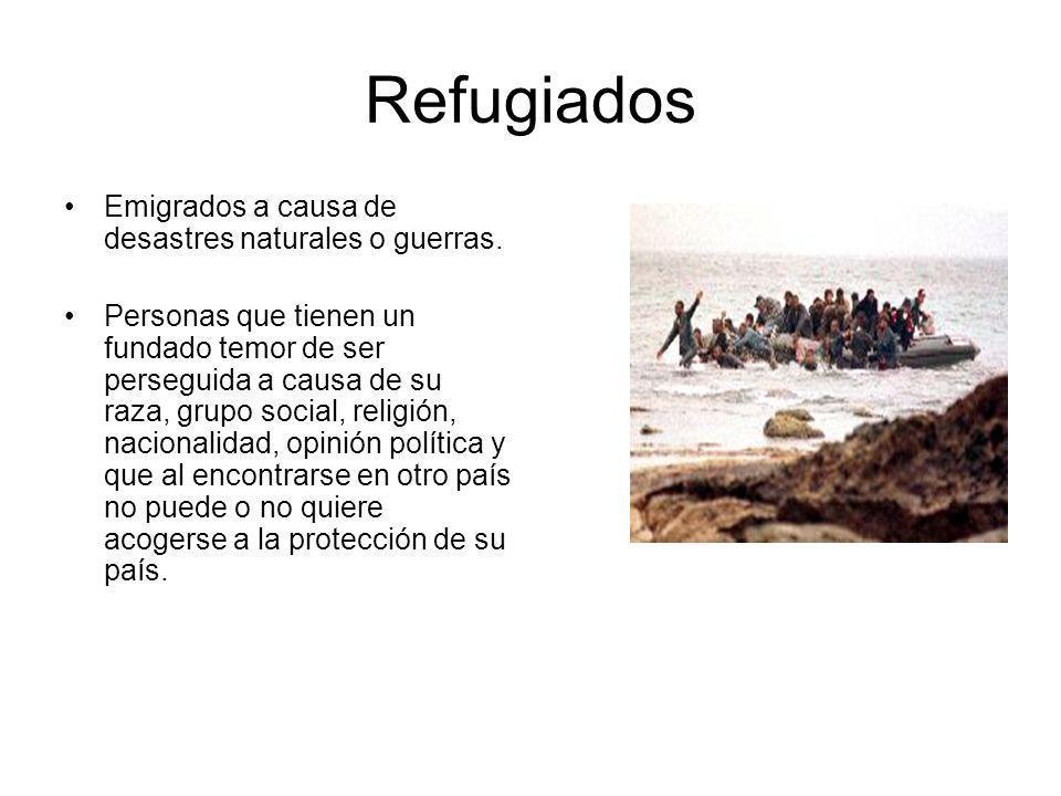 Refugiados Emigrados a causa de desastres naturales o guerras.