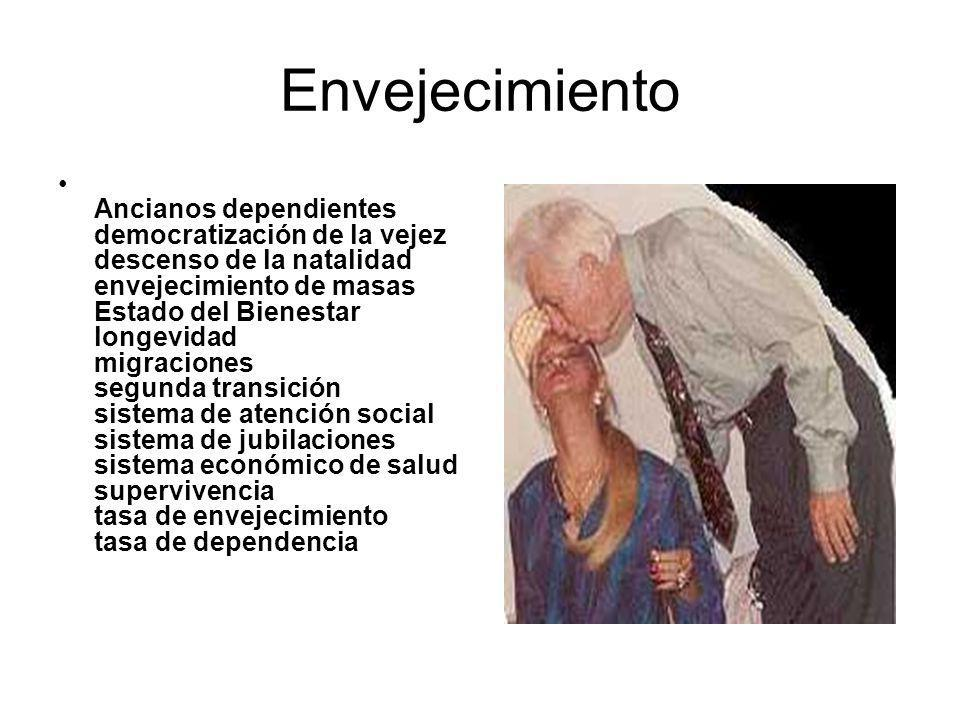 Envejecimiento Ancianos dependientes democratización de la vejez descenso de la natalidad envejecimiento de masas Estado del Bienestar longevidad migraciones segunda transición sistema de atención social sistema de jubilaciones sistema económico de salud supervivencia tasa de envejecimiento tasa de dependencia