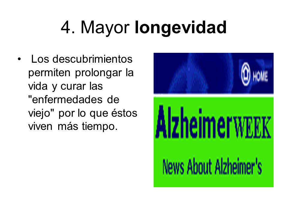 4. Mayor longevidad Los descubrimientos permiten prolongar la vida y curar las