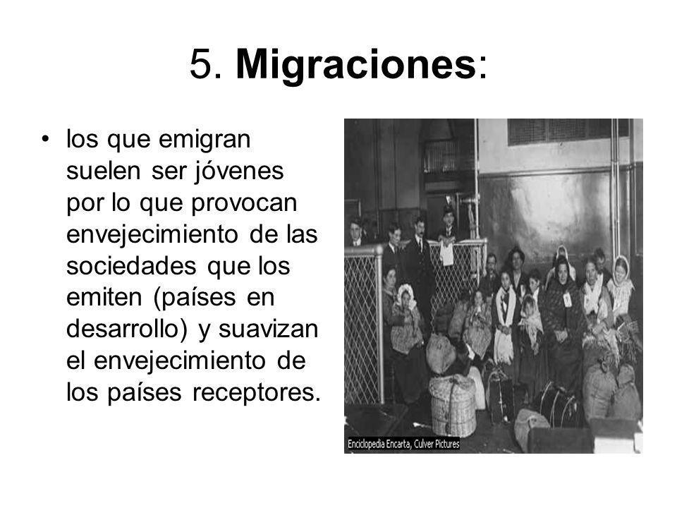 5. Migraciones: los que emigran suelen ser jóvenes por lo que provocan envejecimiento de las sociedades que los emiten (países en desarrollo) y suaviz