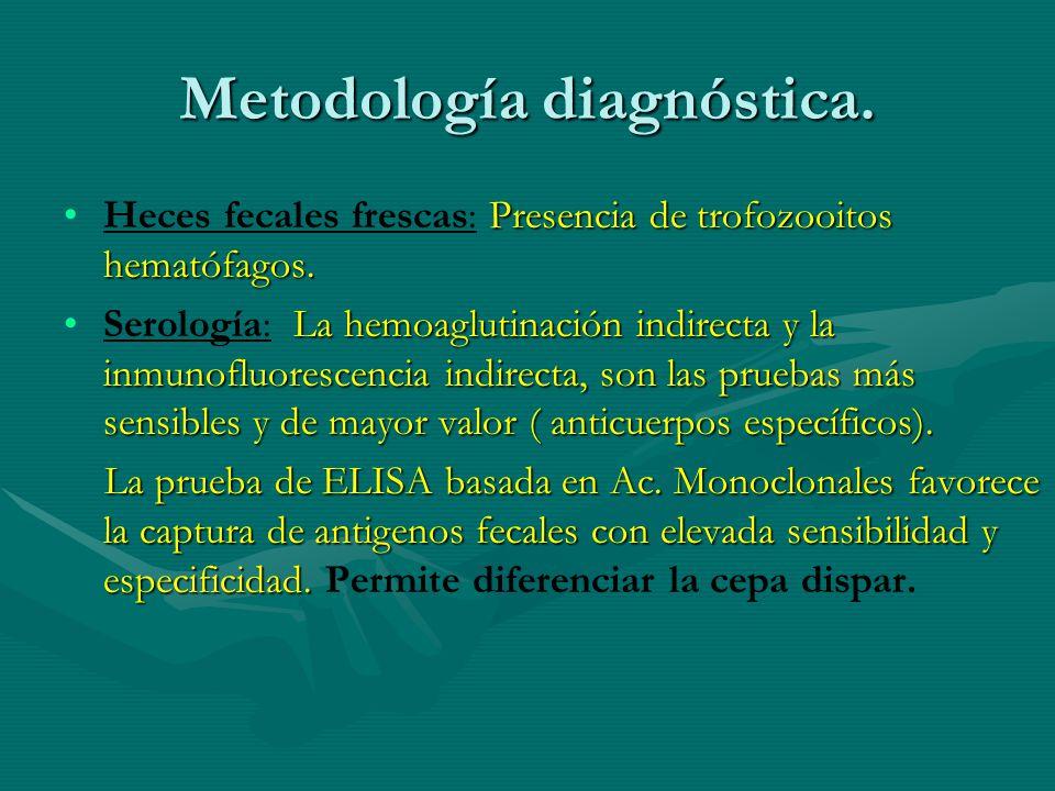 Metodología diagnóstica. Presencia de trofozooitos hematófagos.Heces fecales frescas: Presencia de trofozooitos hematófagos. La hemoaglutinación indir