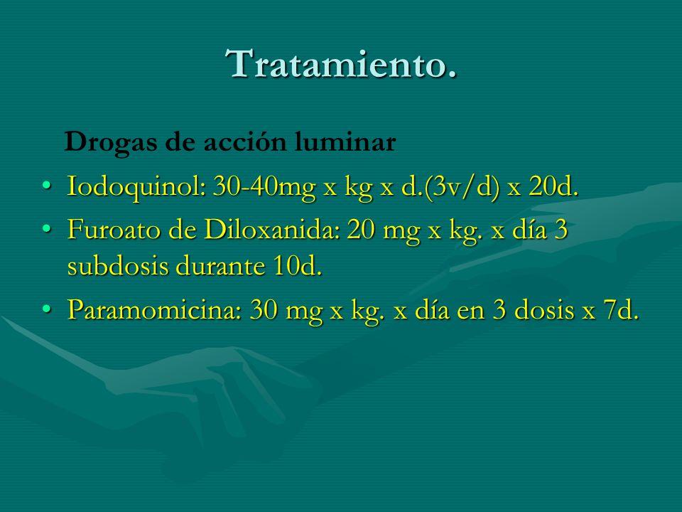 Tratamiento. Drogas de acción luminar Iodoquinol: 30-40mg x kg x d.(3v/d) x 20d.Iodoquinol: 30-40mg x kg x d.(3v/d) x 20d. Furoato de Diloxanida: 20 m