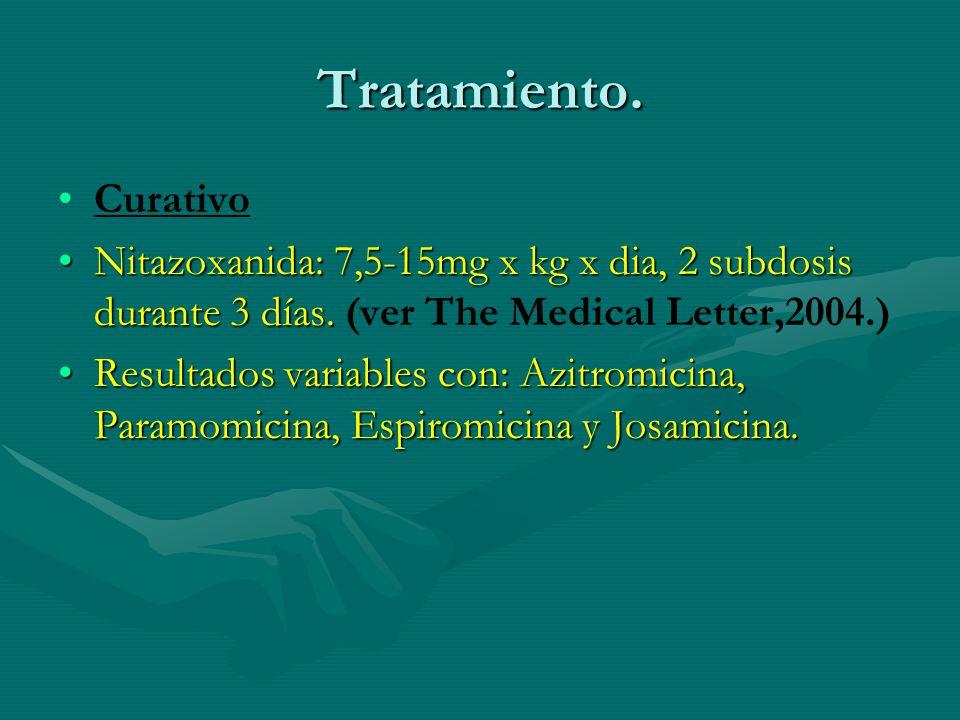 Tratamiento. Curativo Nitazoxanida: 7,5-15mg x kg x dia, 2 subdosis durante 3 días.Nitazoxanida: 7,5-15mg x kg x dia, 2 subdosis durante 3 días. (ver