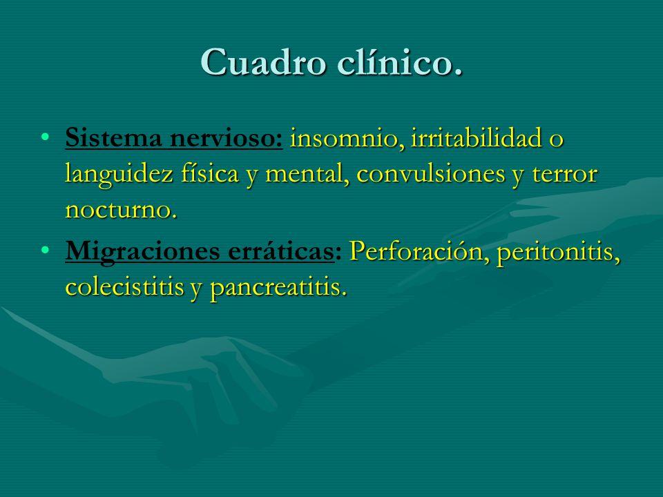 Cuadro clínico. insomnio, irritabilidad o languidez física y mental, convulsiones y terror nocturno.Sistema nervioso: insomnio, irritabilidad o langui