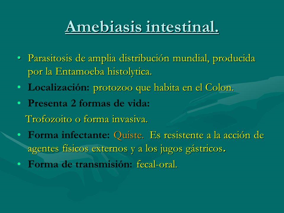 Amebiasis intestinal. Parasitosis de amplia distribución mundial, producida por la Entamoeba histolytica.Parasitosis de amplia distribución mundial, p
