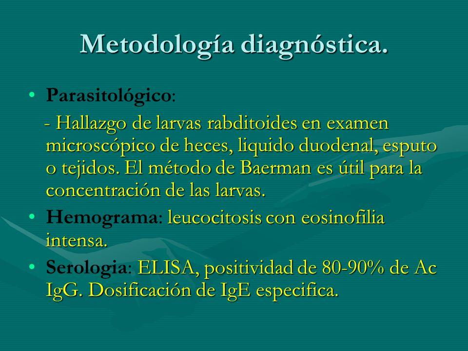 Metodología diagnóstica. Parasitológico: - Hallazgo de larvas rabditoides en examen microscópico de heces, liquido duodenal, esputo o tejidos. El méto