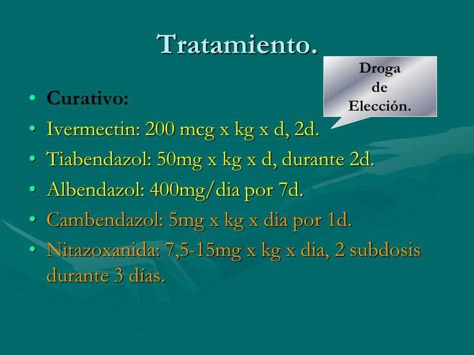 Tratamiento. Curativo: Ivermectin: 200 mcg x kg x d, 2d.Ivermectin: 200 mcg x kg x d, 2d. Tiabendazol: 50mg x kg x d, durante 2d.Tiabendazol: 50mg x k