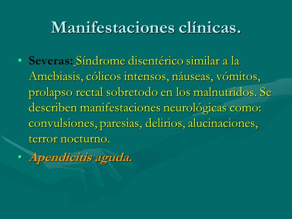Manifestaciones clínicas. Síndrome disentérico similar a la Amebiasis, cólicos intensos, náuseas, vómitos, prolapso rectal sobretodo en los malnutrido