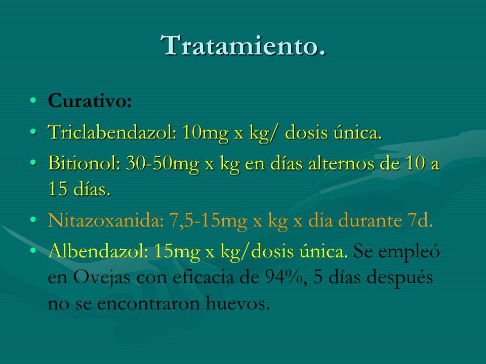 Tratamiento. Curativo: Triclabendazol: 10mg x kg/ dosis única.Triclabendazol: 10mg x kg/ dosis única. Bitionol: 30-50mg x kg en días alternos de 10 a