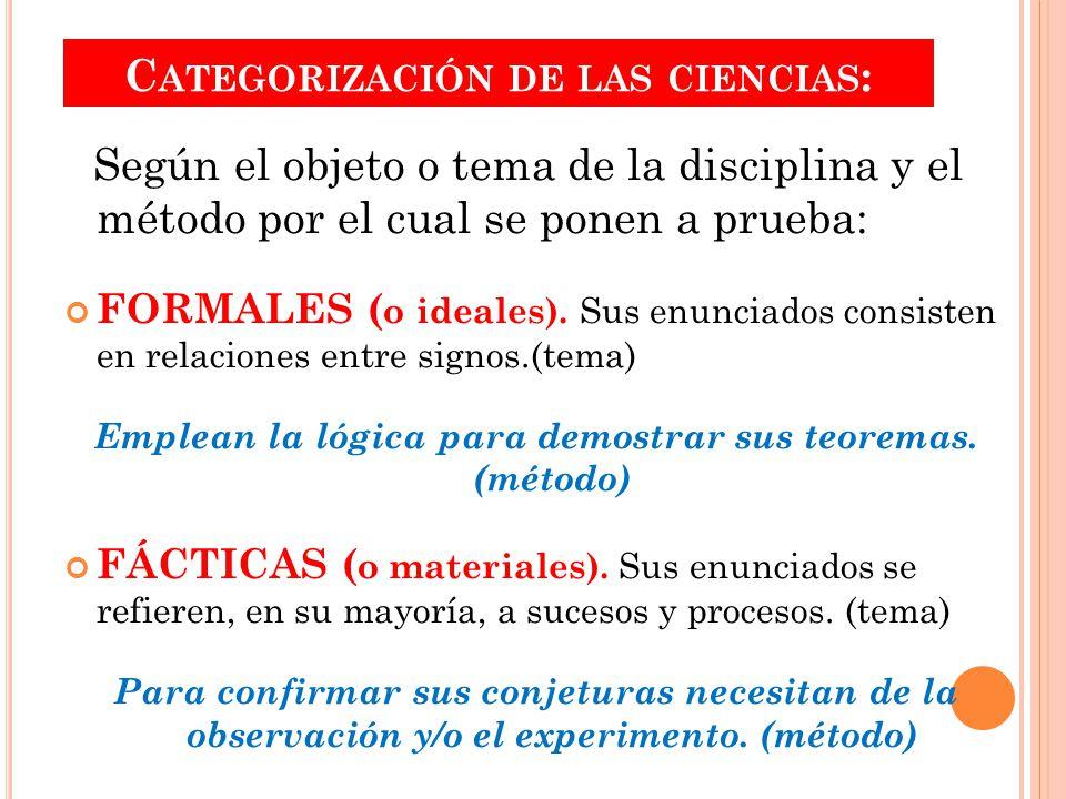 C ATEGORIZACIÓN DE LAS CIENCIAS : Según el objeto o tema de la disciplina y el método por el cual se ponen a prueba: FORMALES ( o ideales).