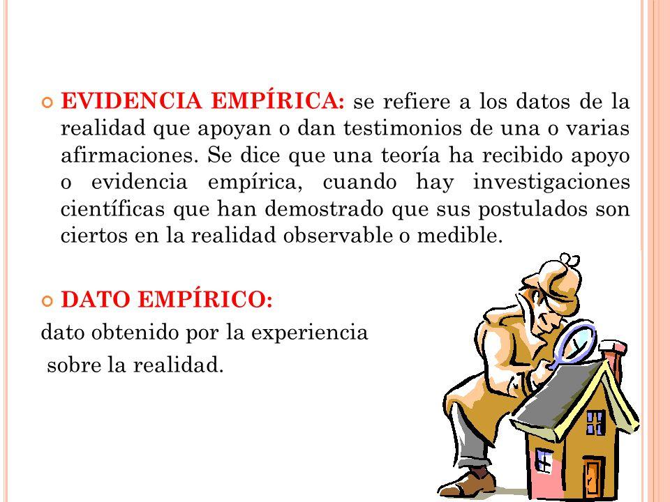 EVIDENCIA EMPÍRICA: se refiere a los datos de la realidad que apoyan o dan testimonios de una o varias afirmaciones.