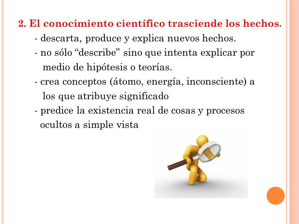 2.El conocimiento científico trasciende los hechos.
