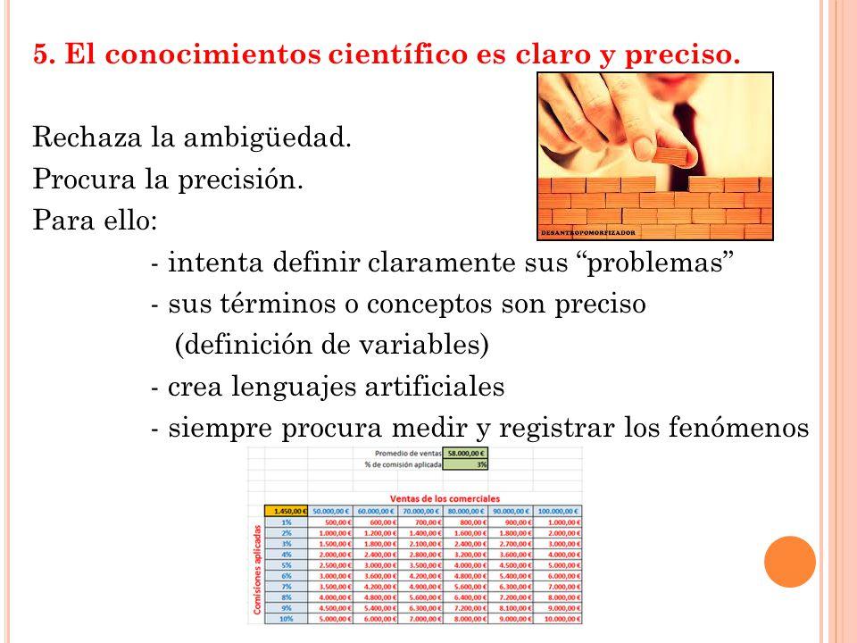 5.El conocimientos científico es claro y preciso.