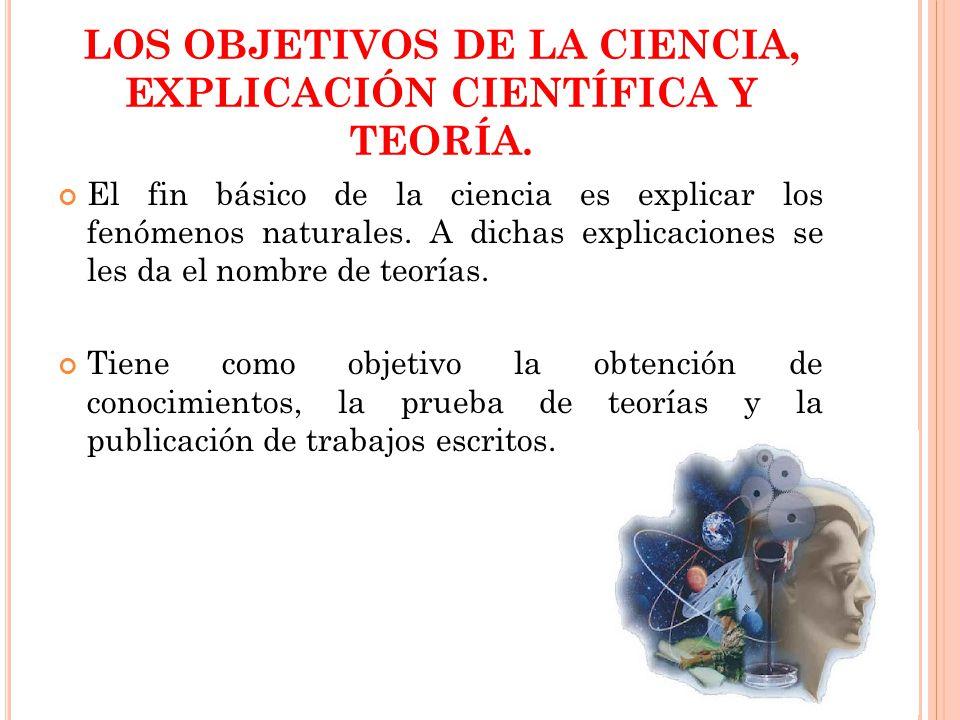 LOS OBJETIVOS DE LA CIENCIA, EXPLICACIÓN CIENTÍFICA Y TEORÍA.