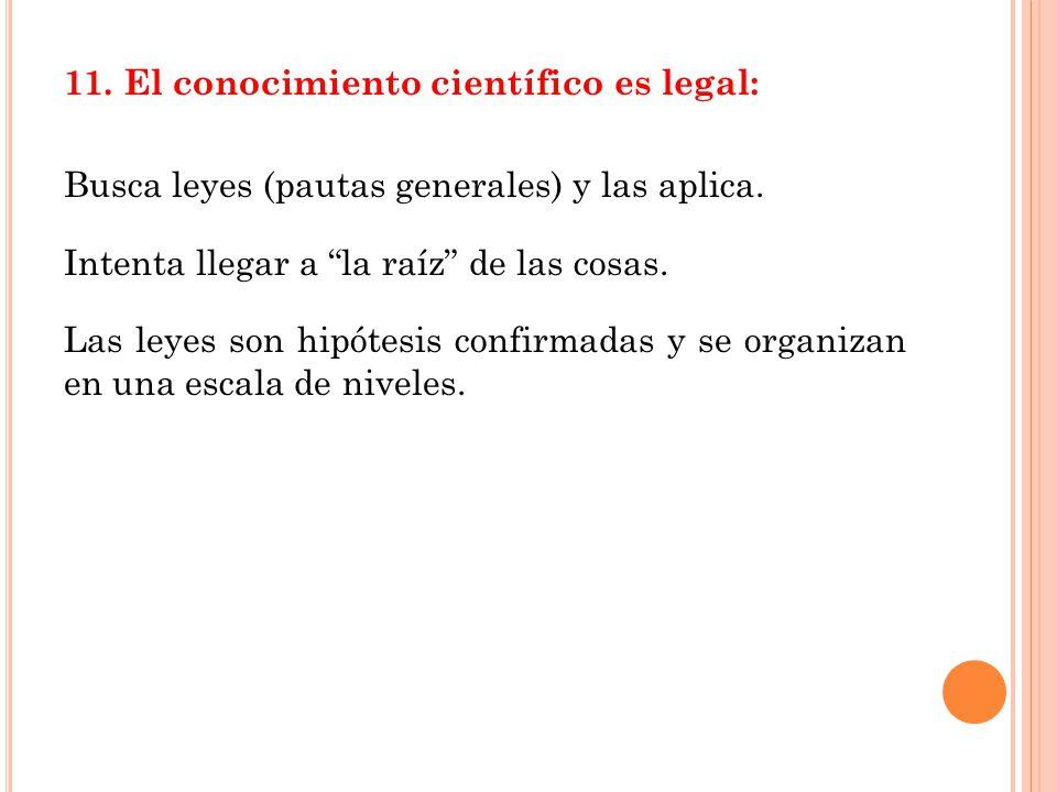 11.El conocimiento científico es legal: Busca leyes (pautas generales) y las aplica.