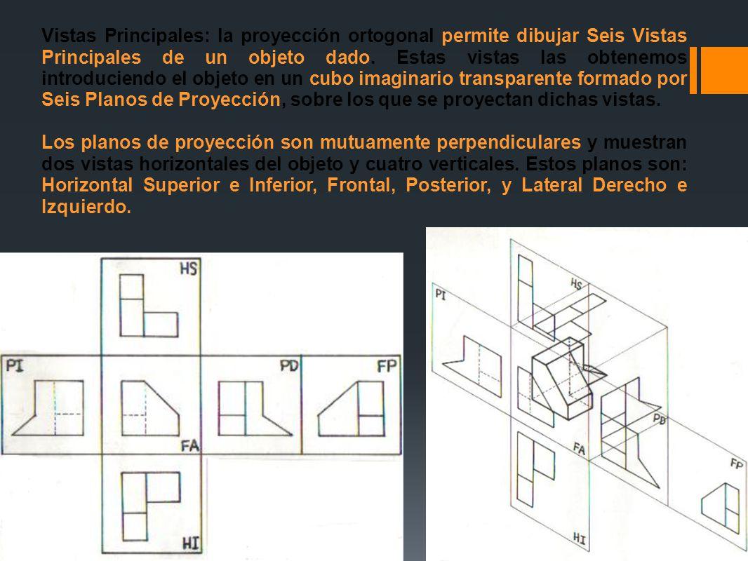 Vistas Principales: la proyección ortogonal permite dibujar Seis Vistas Principales de un objeto dado. Estas vistas las obtenemos introduciendo el obj