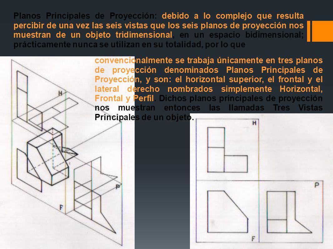 Planos Principales de Proyección: debido a lo complejo que resulta percibir de una vez las seis vistas que los seis planos de proyección nos muestran