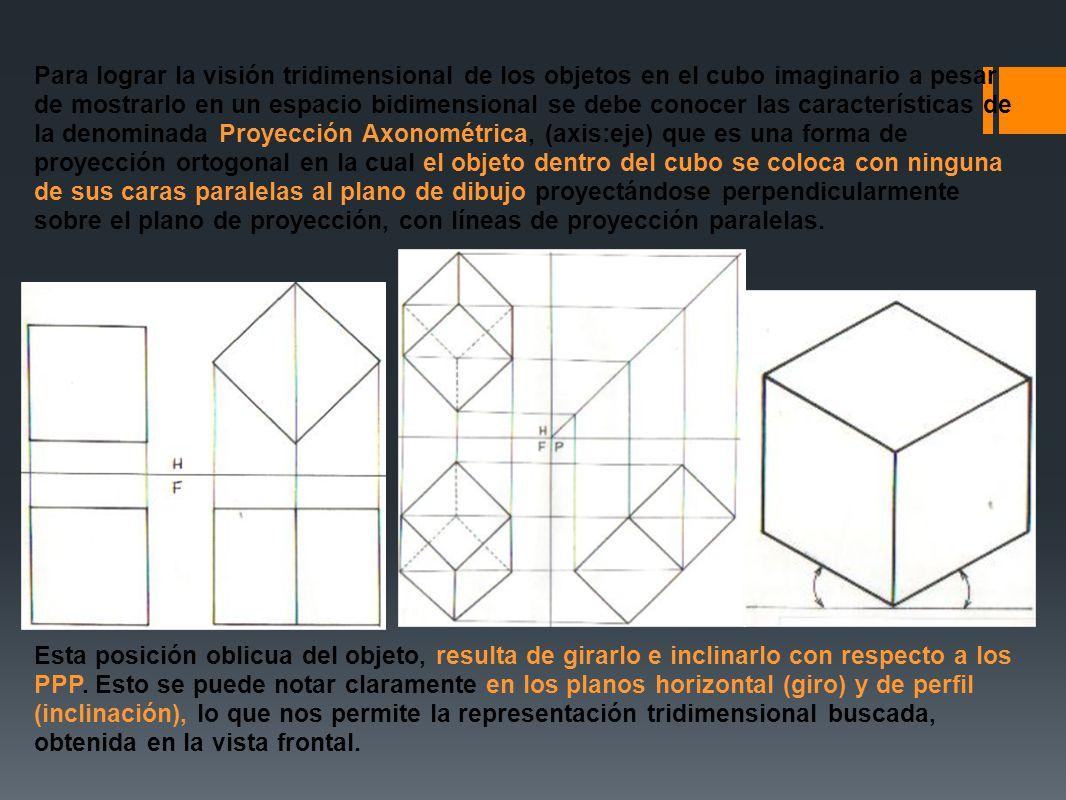 Para lograr la visión tridimensional de los objetos en el cubo imaginario a pesar de mostrarlo en un espacio bidimensional se debe conocer las caracte