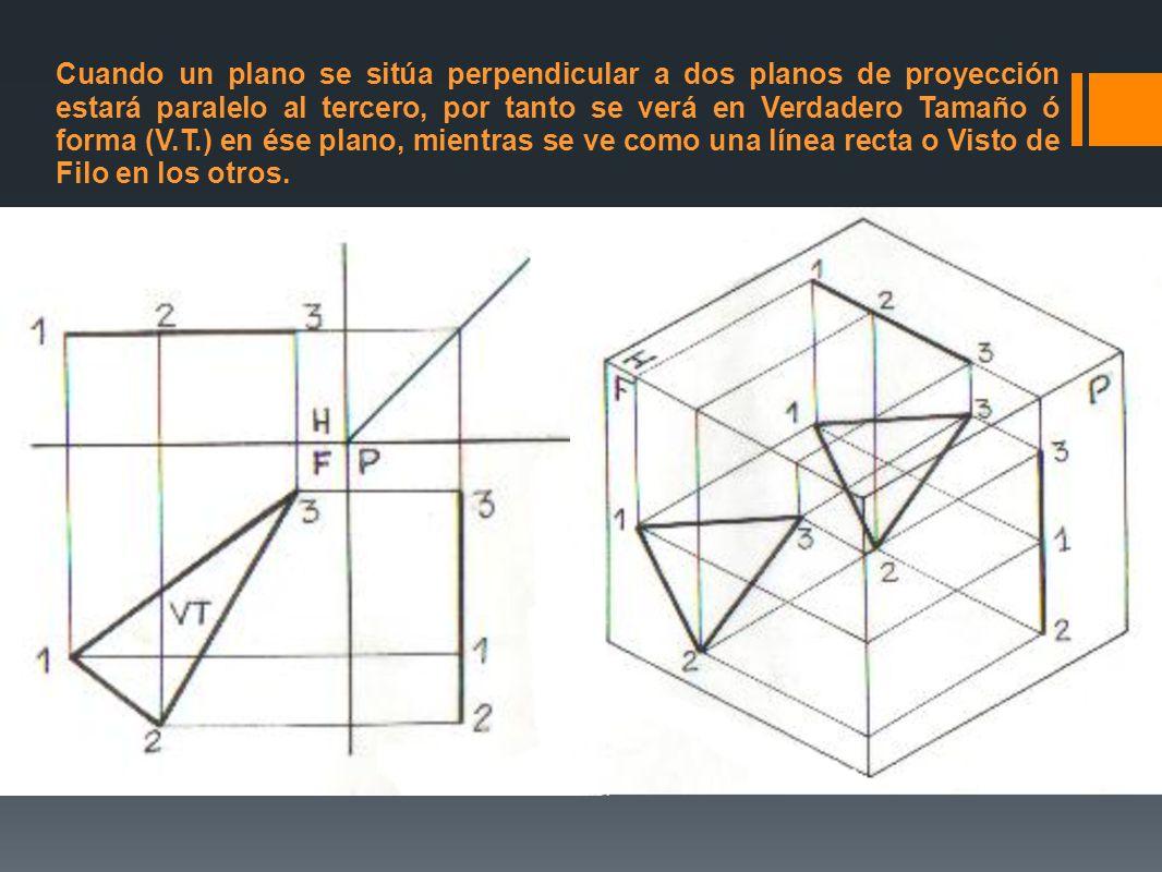 Cuando un plano se sitúa perpendicular a dos planos de proyección estará paralelo al tercero, por tanto se verá en Verdadero Tamaño ó forma (V.T.) en