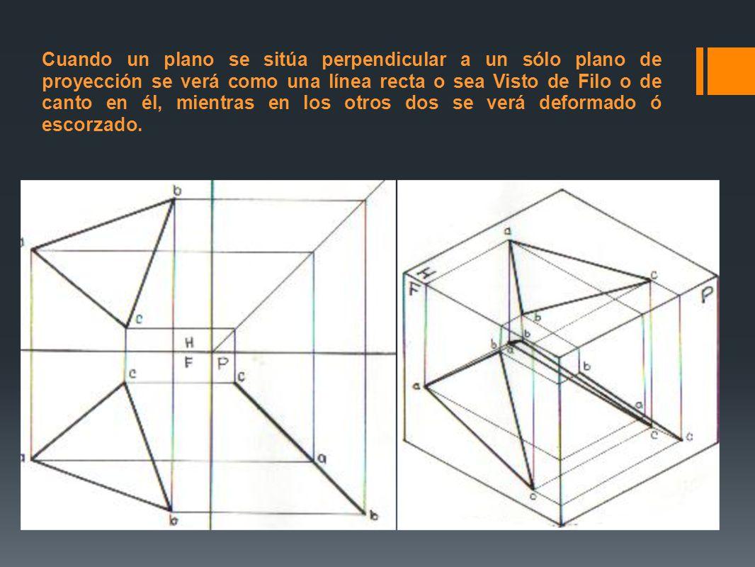 Cuando un plano se sitúa perpendicular a un sólo plano de proyección se verá como una línea recta o sea Visto de Filo o de canto en él, mientras en lo