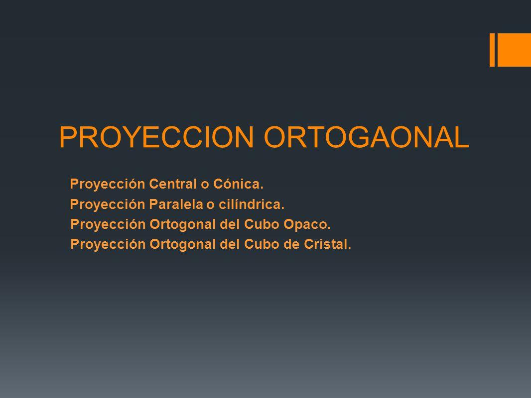 PROYECCION ORTOGAONAL Proyección Central o Cónica. Proyección Paralela o cilíndrica. Proyección Ortogonal del Cubo Opaco. Proyección Ortogonal del Cub