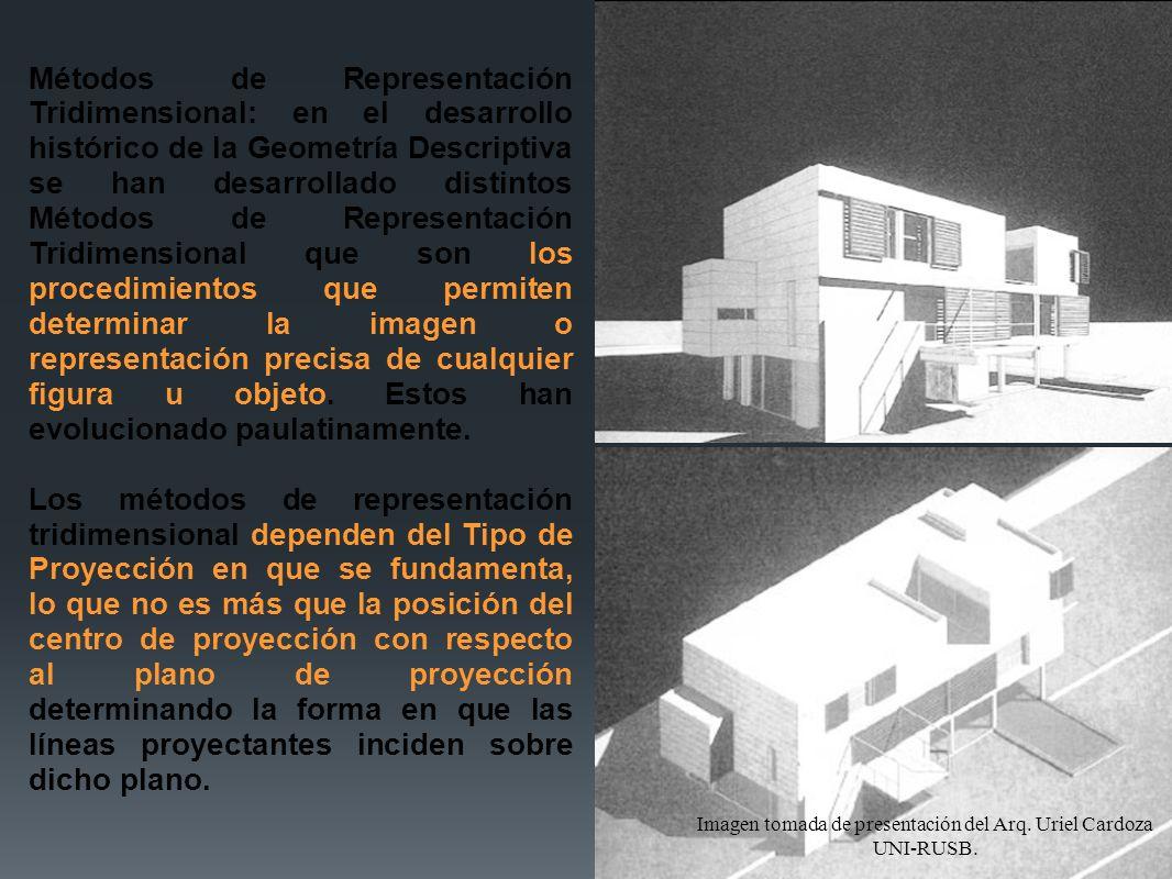 Métodos de Representación Tridimensional: en el desarrollo histórico de la Geometría Descriptiva se han desarrollado distintos Métodos de Representaci