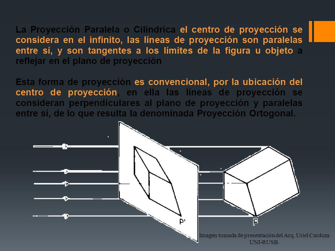 La Proyección Paralela o Cilíndrica el centro de proyección se considera en el infinito, las líneas de proyección son paralelas entre sí, y son tangen