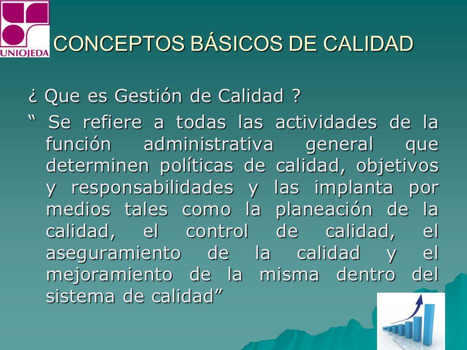 CONCEPTOS BÁSICOS DE CALIDAD CONCEPTOS BÁSICOS DE CALIDAD RESPONSABILIDAD DE LA ADM.