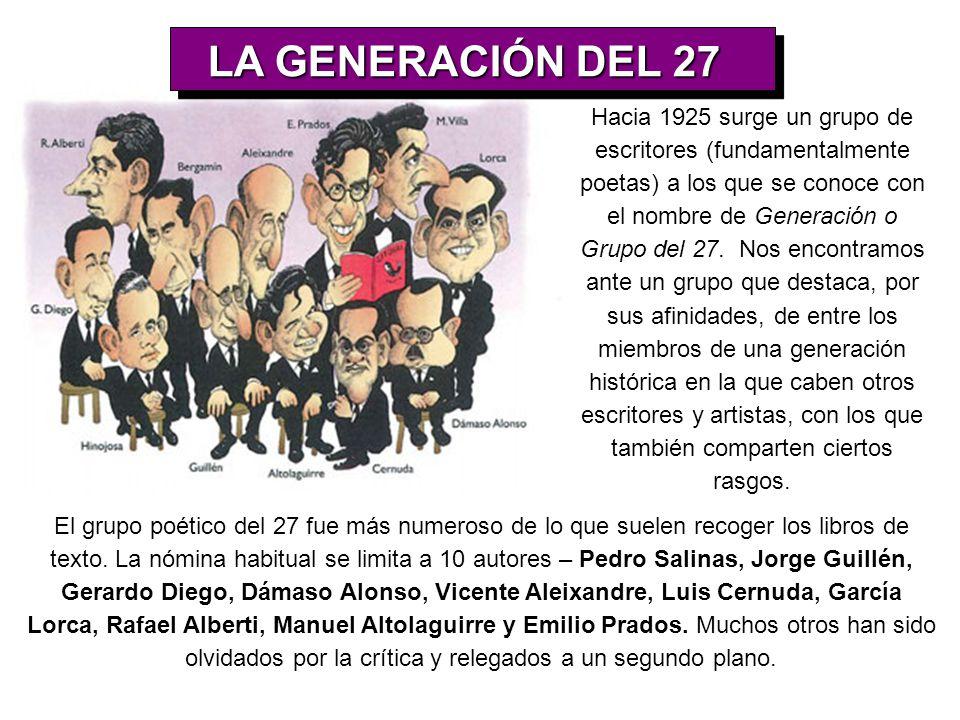 Hacia 1925 surge un grupo de escritores (fundamentalmente poetas) a los que se conoce con el nombre de Generación o Grupo del 27. Nos encontramos ante